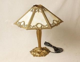 Beautiful Antique Tiffany Style Leaded Stained Glass Shade Table Lamp