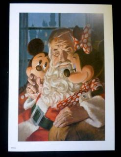 Mickey Mouse Minnie with Santa Claus Christmas Print by Charles Boyer