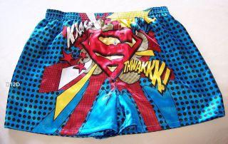 Superman Logo Blue Mens Satin Boxer Shorts Size L New