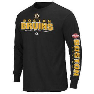 Boston Bruins NHL Long Sleeve Black Practice T Shirt Tee