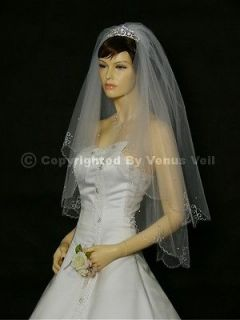 2T Ivory Fingertip Scalloped Edge with Pearls Bridal Wedding Veil