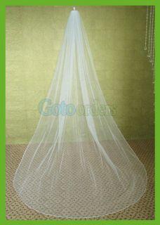 WHITE IVORY BRIDAL WEDDING VEIL 1T CATHEDRAL PENCIL EDGE VG21