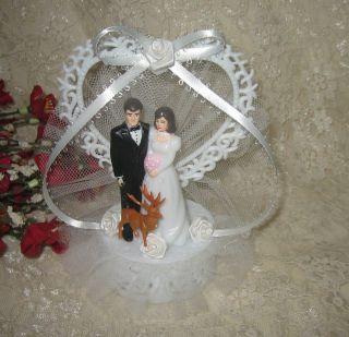HUMOROUS WEDDING BRIDE GROOM BUCK DEER HUNTER HUNTING CAKE TOPPER