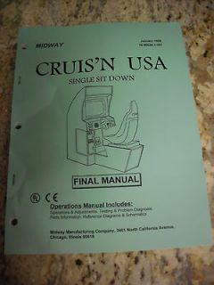 Vintage Midway Cruisn Usa Operation Service Repair Manual Video Arcade