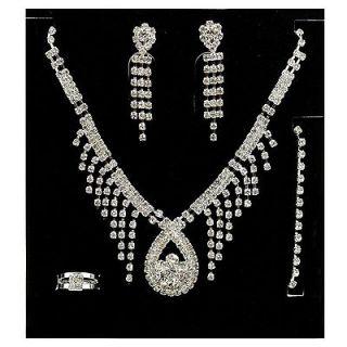 Wedding Party Crystal Earring Bracelet Necklace Ring Jewel Set LA1806K