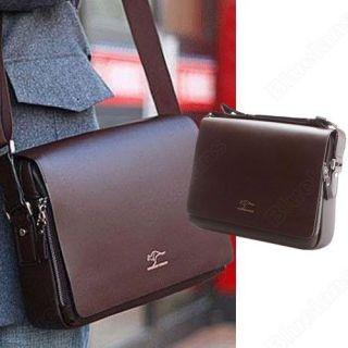 Mens Kangaroo Leather Crossbody Shoulder Messenger Bag Briefcase