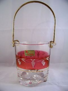 Spa Lubiana Ruby Flashed Glass Ice Bucket Vintage Mid Century Italy