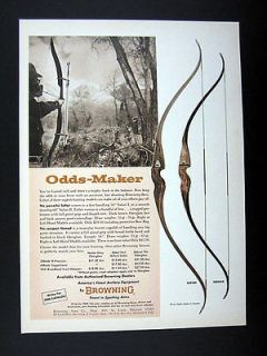 Browning Safari & Nomad Bows Bow Hunter Deer Hunting 1965 print Ad