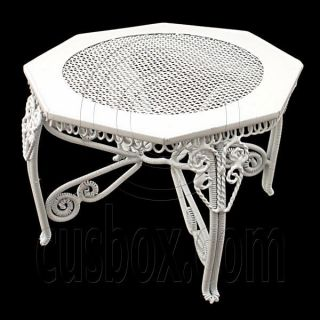 White Wire New Octagon Coffee Dining Table 112 Dolls House Dollhouse