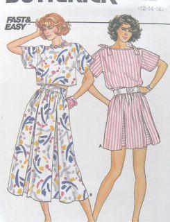 80s Misses Top Dirndl Skirt Sewing Pattern Pleats Ties Underlays 3252
