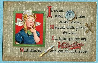 B6133 Frances Brundage Valentines Day postcard, Tuck Pots and Pans #7
