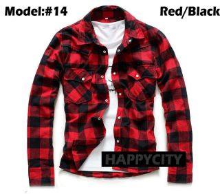 New Mens Lumberjack Brush Casual Shirt Cotton Flannel Check Slim Fit