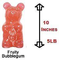 Largest Gummy Bear Giant 5 Pounds 10 Inches tall Fruity Bubblegum