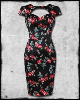 HELL BUNNY ROSALIE BLACK FLORAL SATIN ROCKABILLY PINUP 50s FITTED