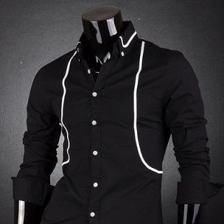 Mens Designer Double Line Slim Dress Shirts Tops Casual Men Shirt