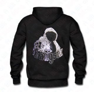 Black Gangsta Embellished Stud Zip hoodie Sizes M XXXL