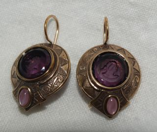 BALMORAL ENGRAVED AMETHYST INTAGLIO CAMEO FRENCH WIRE EARRINGS