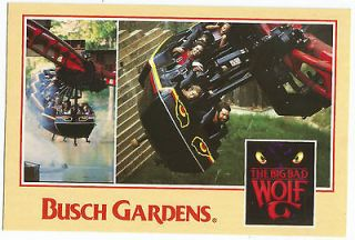 Busch Gardens Williamsburg VA Big Bad Wolf Vintage Postcard