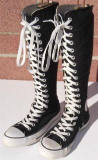 CONVERSE KNEE HIGH 20 EYE CALF LENGTH BOOTS BLACK WHITE WOMAN SIZE 7