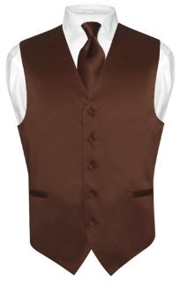 Mens CHOCOLATE BROWN Tie Dress Vest and NeckTie Set for Suit or