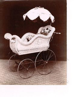 antique wicker baby carriage in Antiques