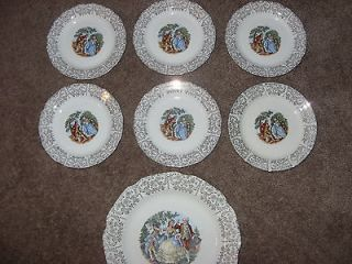 ANTIQUE ROYAL CHINA WARRANTED 22 KT. GOLD COLONIAL 1 plate and 6