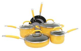 Ray 19442 10 Piece Porcelain Enamel Cookware Kitchen Set   Yellow