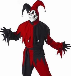 Mens Halloween Costume Scary Evil Court Jester Outfit