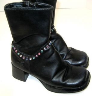 Candies Girls Rhinstones Black Boots Shoes Size 13.5 M