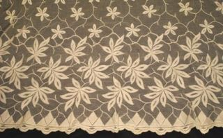 20THC LONG PAIR EMBROIDERED FRENCH NET LACE CURTAIN PANELS 114 x 55