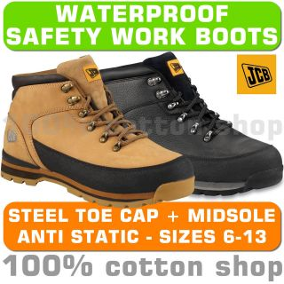 JCB 3CX Work Mens Waterproof Safety Boots Shoes Hiking Black Honey
