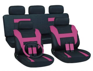 16pc Set Pink Black SUV Auto Car Seat Covers + Steering Wheel Belt Pad