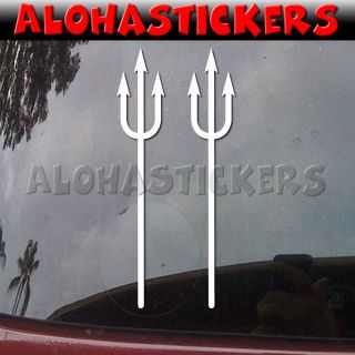 Lot of 2   DEVIL PITCH FORK Car Truck Van Laptop Vinyl Decal Window