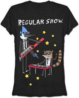 Keytar Band Mordecai and Rigby Cartoon Juniors Babydoll T Shirt Tee