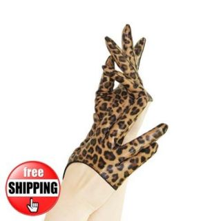 Leopard Print Half Palm Real Leather Gloves/Lady Gaga Carrie Kim Style