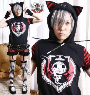 Cutie Punk ANGRY KILLER KITTY CAT Ear Hoody Tee+Tail B