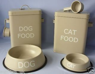 Shabby Vintage Style Metal Cat or Dog Food Storage Tin Box Olive/Grey
