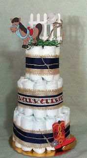 Tier Diaper Cake Cowboys Rule Baby Shower Centerpiece Boy or Girl