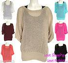 WOMENS LADIES KNITTED JUMPER BATWING 3/4 SLEEVE SEE THROUGH PONCHO