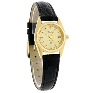 Ladies Marine Star Gold Tone Champagne Dial Black Leather Watch 92G25