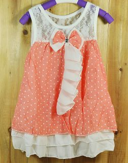infant baby girls dress pink white girl clothing with cute bow