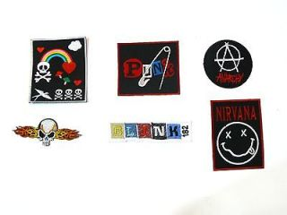 Set Of 6 pcs Skull Punk Rock Nu Metal Hard Core Bands Embroidered Iron
