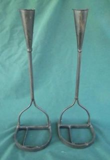MATCHING CATTLE BRANDING IRON CANDLE STICK HOLDERS L HORSESHOE