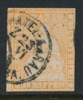 Switzerland #23 HELVETIA 20c IMPERF USED CDS