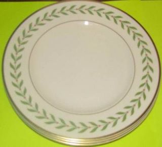 Syracuse China Greenwood Old Ivory 4 Salad Dessert Plates Vintage LOT