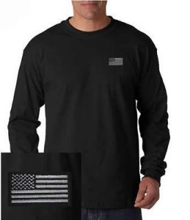 US Blacked out American Flag/Military EMBROIDERED Black Long Sleeve T
