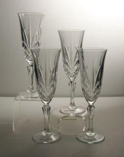 Vintage Wine Champagne Flute Glasses 4oz Faceted Stemmed Crystal Set