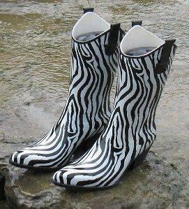 Womens Western Cowboy Rodeo Zebra Stripe Tall Rain Boots Corkys