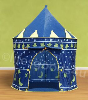DECORATIVE BLUE CHILDRENS PLAY TENT KIDS CASTLE CUBBY PLAY HOUSE