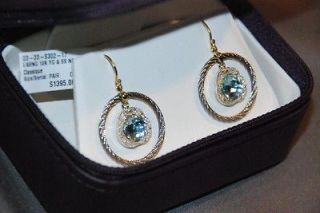 1395 New Charriol 18K Blue Topaz & Yellow Gold & .10ctw Diamond